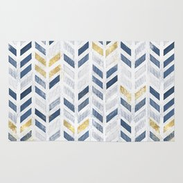 Herringbone chevron pattern. Indigo gold acrylic on canvas Rug