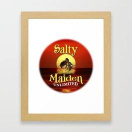 Mermaid -Salty Maiden Mermaid round Framed Art Print