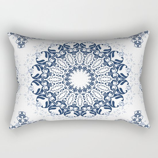Blue ornament on a white background. Rectangular Pillow