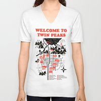 map V-neck T-shirts featuring Twin Peaks Map by Robert Farkas