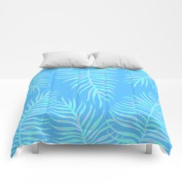 Fern pattern on light blue background Comforters