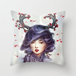 Woman with Antlers Throw Pillow