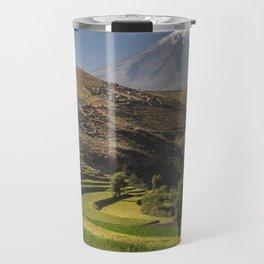 Inca garden and active volcano Misti in Arequipa Peru Travel Mug