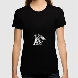 Grizzly Bear Fighting  Chinese Dragon Tattoo T-shirt