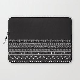 Carbon Black Mudcloth Boho Bespoke Laptop Sleeve