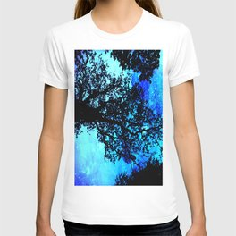 Black Trees Turquoise Space T-shirt