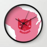 milwaukee Wall Clocks featuring Milwaukee Meowaukee by Mermade