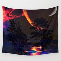 saturn Wall Tapestries featuring saturn reflection by haroulita
