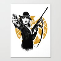 peggy carter Canvas Prints featuring Agent Peggy Carter by PawixZkid