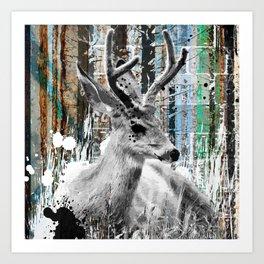 Deer in the Industrial Woods Art Print