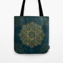 Golden Flower Mandala on Dark Turquoise Tote Bag