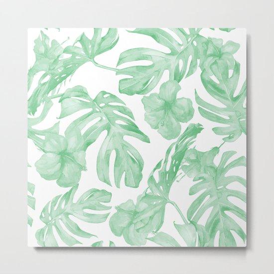 Tropical Island Republic Green and White Metal Print