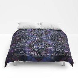 Yoga Asanas / Poses Sanskrit Word Art  Pearl on amethyst Comforters