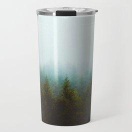 Misty Pine Forest Green Blue Hues Minimalist Photography Travel Mug