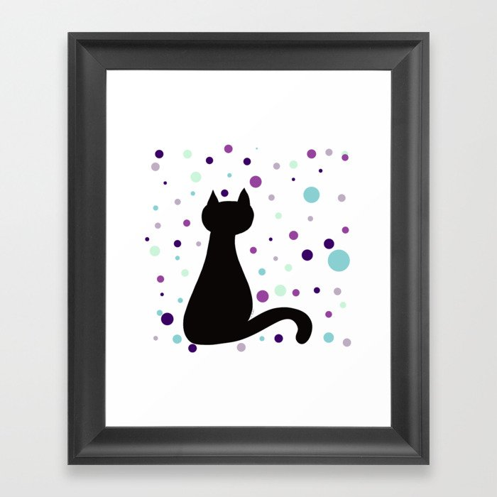 Black Cat Party! Framed Art Print