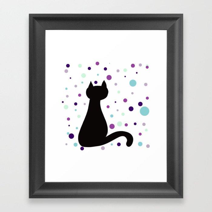 Black Cat Party! Framed Art Print