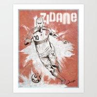 zidane Art Prints featuring Zinedine Zidane by Renato Cunha