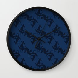 Indigo Blue Shibori Dye Hand Drawn Japanese Style Wall Clock
