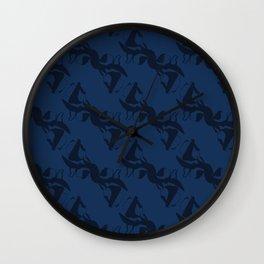 Indigo Blue Shibori Dye Hand Drawn Japanese Style Wall Clock