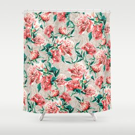 Peonies with lace effect Shower Curtain