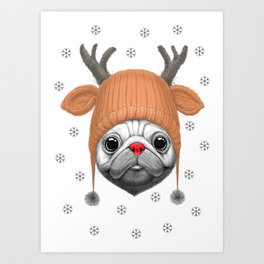 Pug Rudolph Art Print