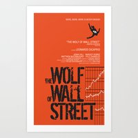wolf of wall street Art Prints featuring The Wolf of Wall Street  by Geminianum