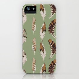 Hawk Feathers on Green iPhone Case