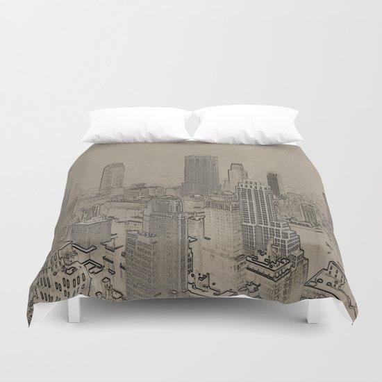 Old Cityscape Duvet Cover