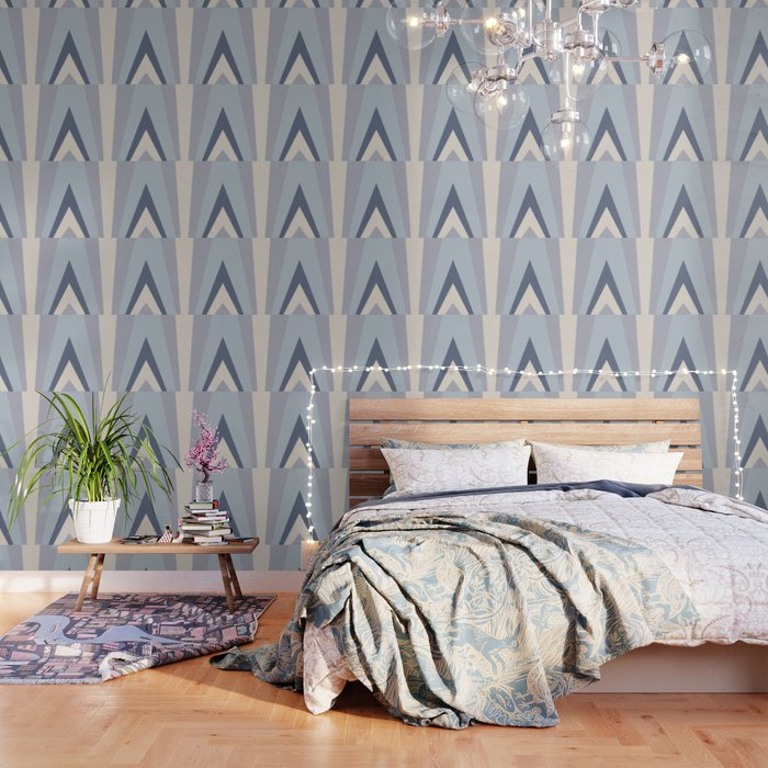 blue Wall Art, Scandinavian Decor, Sun Wall Art, Mid Century Art, Bedroom  Wall Decor, Mustard Yellow Wallpaper by bluepinkpanther
