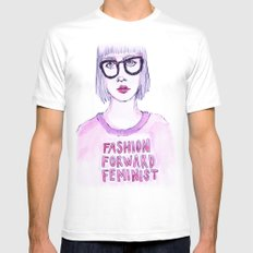 Fashion Forward Feminist LARGE White Mens Fitted Tee