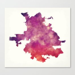 San Jose city watercolor map in front of a white background Canvas Print