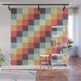 When dad was young - Pixel pattern in muted pastel colors Wall Mural