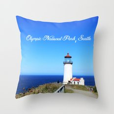 Lighthouse at Olympic National Park seaside, Seattle.  Throw Pillow