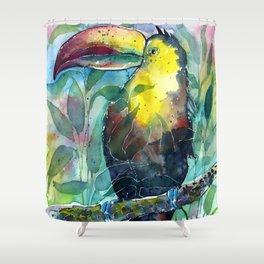 TOUCAN, watercolor illustration (nature) Shower Curtain