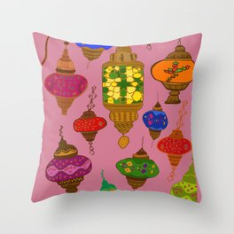 Istanbul lamps Throw Pillow