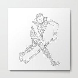 Field Hockey Player Doodle Metal Print