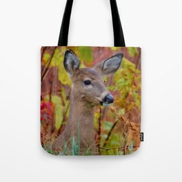 """""""Deer In The Fall Foliage"""" by S. Michael Tote Bag"""