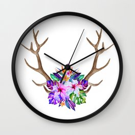Floral Horn Wall Clock