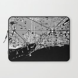 Barcelona city map black and white Laptop Sleeve