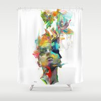 water color Shower Curtains featuring Dream Theory by Archan Nair