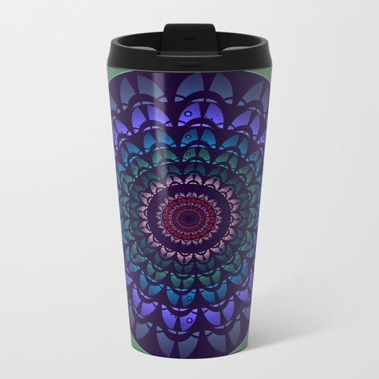 Graphic flower and petals mandala Metal Travel Mug