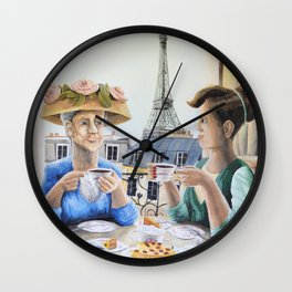Tea Time in Paris Wall Clock