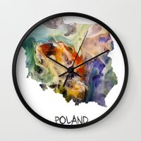 poland Wall Clocks featuring Map of Poland watercolor by jbjart