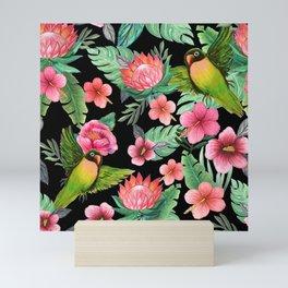 Tropical Palm Lovebird Floral Mini Art Print