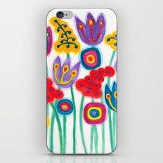 raw flower garden with tulips iPhone Skin