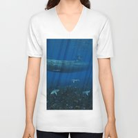 submarine V-neck T-shirts featuring U99 Submarine by Simone Gatterwe