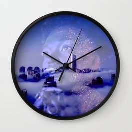 Purple portrait architecture Wall Clock