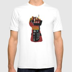 Power Glove Love: Iron Man White SMALL Mens Fitted Tee