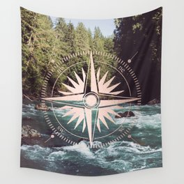 Rose Gold River Compass Wall Tapestry