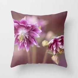 Light pink columbine flowers Throw Pillow